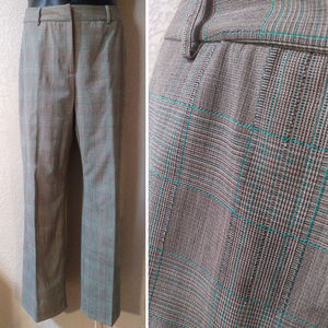 Antonio Melani Gray plaid pants w green threads 8